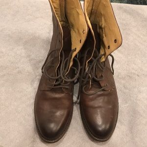Brown frye military boots